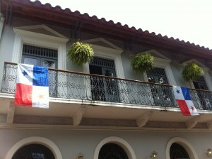 Casco Viejo balcony flag